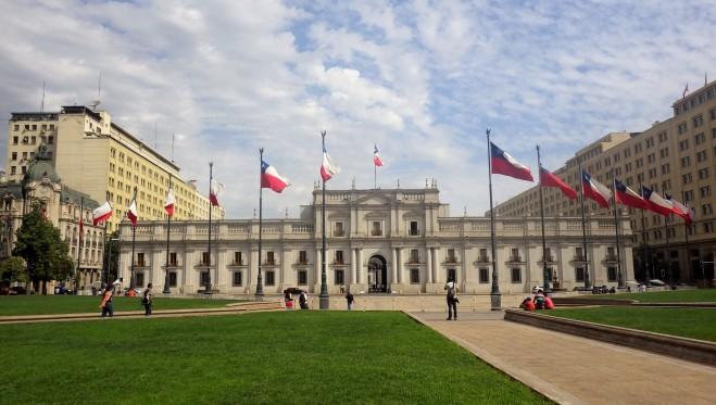 La Moneda - predsjednička palača u Santiagu koja je bila bombardirana za vrijeme puča 1973. godine